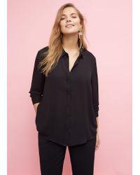 Violeta by Mango - Black Flowy Shirt - Lyst