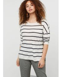 Violeta by Mango | White Striped Cotton Linen-blend Sweater | Lyst