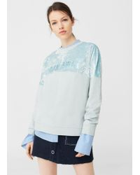 Mango | Blue Velvet Panel Sweatshirt | Lyst