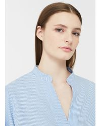 Mango - Blue Puffed Sleeves Blouse - Lyst