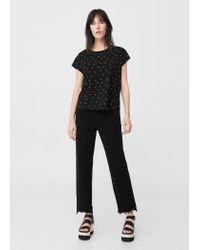 Mango | Black Printed Cotton T-shirt | Lyst