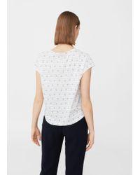 Mango - White Printed Cotton T-shirt - Lyst