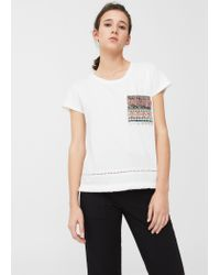 Mango | White Embroidered Chest-pocket T-shirt | Lyst