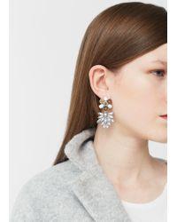 Mango - Metallic Flower Beaded Earrings - Lyst