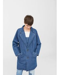 Mango | Blue Printed Denim Trench | Lyst