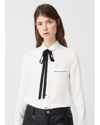 Mango   White Bow Neck Shirt   Lyst