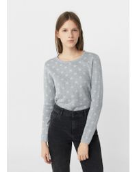 Mango | Gray Polka-dot Cotton-blend Sweater | Lyst