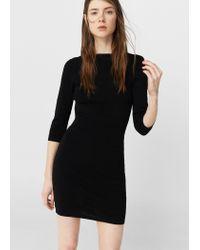 Mango | Black Fitted Jersey Dress | Lyst