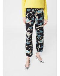 Mango | Black Flowy Printed Trousers | Lyst