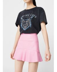 Mango - Pink Fluted Hem Skirt - Lyst