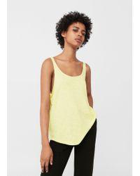 Mango | Yellow Knotted-hem Cotton Top | Lyst