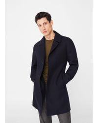 Mango | Blue Tailored Cotton-blend Overcoat for Men | Lyst