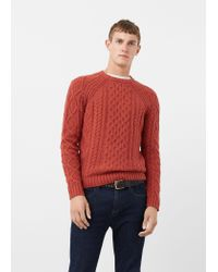 Mango | Orange Cable-knit Wool-blend Sweater for Men | Lyst