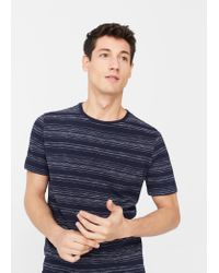 Mango | Blue Striped Cotton T-shirt for Men | Lyst
