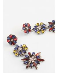 Mango - Metallic Pendant Crystals Earrings - Lyst