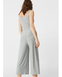 Mango   Gray Striped Jumpsuit   Lyst