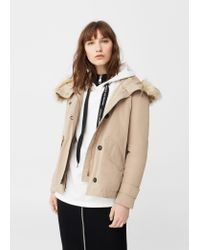 Mango | Natural Faux-fur Quilted Parka | Lyst