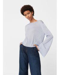 Mango   Blue Flared Sleeves Sweater   Lyst