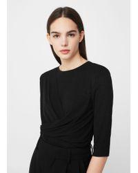 Mango | Black Wrap T-shirt | Lyst
