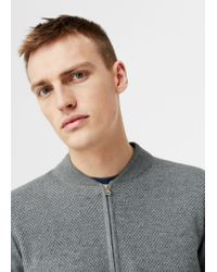 Mango | Gray Textured Cotton Cardigan for Men | Lyst