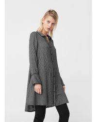 Mango | Black Contrast Trim Dress | Lyst