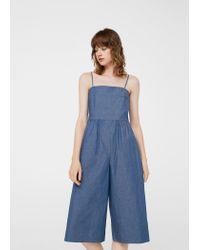 Mango - Blue Cotton Denim Jumpsuit - Lyst