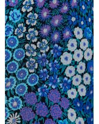 Mango - Blue Floral Print Blouse - Lyst