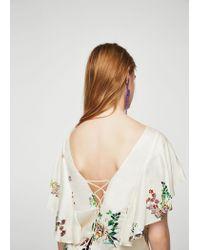 Mango - White Ruffles Floral Blouse - Lyst