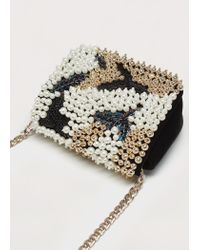 Violeta by Mango - Black Chain Bead Bag - Lyst