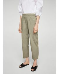 Mango | Green Straight Cotton Trousers | Lyst