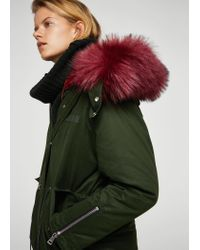 Mango - Green Contrast Hooded Parka - Lyst