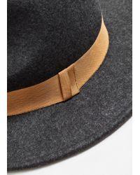 Mango - Gray Wool Fedora Hat - Lyst