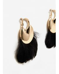 Mango | Metallic Feather Hoop Earrings | Lyst