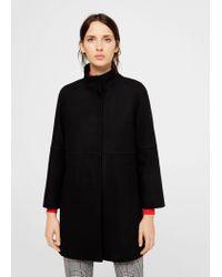 Mango - Black Straight-cut Wool Coat - Lyst