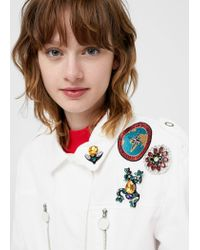 Mango | White Decorative Patches Cotton Jacket | Lyst
