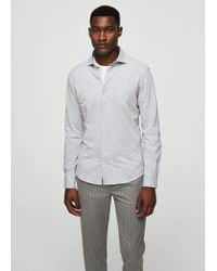 Mango - White Flecked Cotton Shirt for Men - Lyst