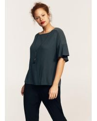 Violeta by Mango - Gray Necklace T-shirt - Lyst