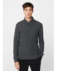 Mango | Gray Flecked Cotton-blend Sweater for Men | Lyst