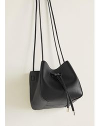 Mango - Black Bucket Bag - Lyst