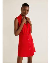 963d6bbce67c1a Mango Flowy Shirt Dress in Red - Lyst