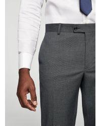 Mango - Gray Slim-fit Patterned Suit Trousers for Men - Lyst