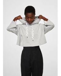 2f6928742 Mango Flecked Crop Sweatshirt in Gray - Lyst