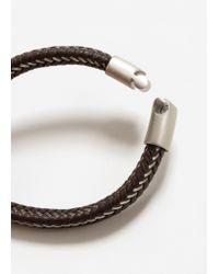 Mango | Brown Metal Hook Leather Bracelet | Lyst