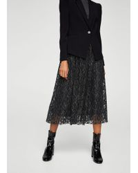 Mango - Black Metal Thread Lace Skirt - Lyst