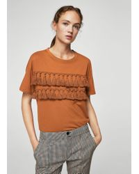 Mango - Orange Pom Pom Cotton T-shirt - Lyst