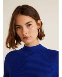 Mango - Blue High Collar Ribbed Knit Sweater - Lyst