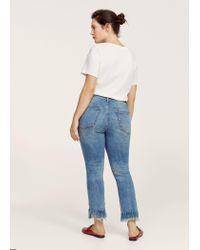 Violeta by Mango - Blue Cropped Frayed Jeans - Lyst
