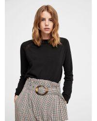Mango - Black Decorative Seams Cotton Sweater - Lyst