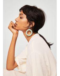 Mango - Green Crystal Hoop Earrings - Lyst