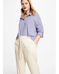 Violeta by Mango - Natural Flowy Baggy Trousers - Lyst